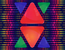 Glass triangles of different sizes and colors. Red, blue and green glass triangle banners of different sizes on abstract colorful triangle elements ornament Royalty Free Stock Photography