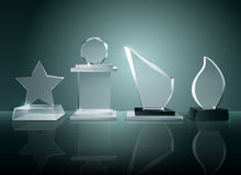 Glass Trophies Background Reflection Realistic Image. Sport competitions glass trophies prizes collection on transparent reflective surface realistic image with Stock Image