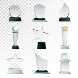 Glass Trophies  Collection Transparent Realistic Image Stock Image