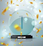 Glass Trophy Award. First place prize plaque. Festive illustration with prize and trophy winner. Golden flickering. Confetti and flickering glare. Vector Stock Photo