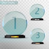 Glass Trophy Award. Set of cups - first, second and third place. Prize template. Glass trophy mockup stand on clear base. Realistic vector transparent object Royalty Free Stock Image