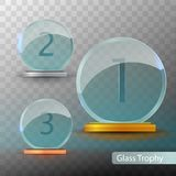 Glass Trophy Award. Set of cups - first, second and third place. Prize template. Gold, silver or bronze award template. Realistic vector transparent object 10 Stock Images