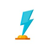 Glass trophy award in shape of lightning with golden base isolated on white background. Blue winner prize icon Stock Photos