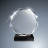 Glass trophy award. Vector crystal 3D mockup Stock Photography