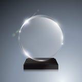 Glass trophy award. Vector crystal 3D mockup Stock Image