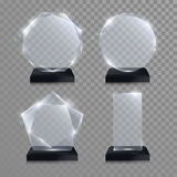 Glass trophy award. Vector crystal 3D transparent Royalty Free Stock Image
