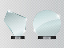 Glass Trophy Award. Vector illustration isolated on transparent background Stock Photography