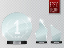 Glass Trophy Award. Vector illustration isolated on transparent background. For your artwork Royalty Free Stock Image