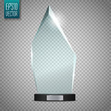 Glass Trophy Award. Vector illustration  on transparent background Stock Photos
