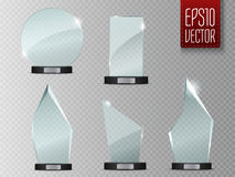 Glass Trophy Award. Vector illustration  on transparent background Stock Photo