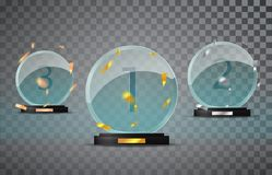 Glass trophy set  on a transparent background with the falling confetti. First, second and third place. Challenge and sport competitions winners prizes glass Royalty Free Stock Image