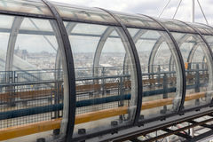 Glass tube corridor at Pompidou Centre with aerial view at Paris Stock Photo