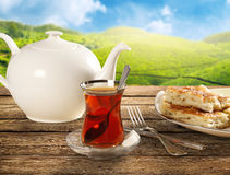 Glass of Turkish tea, natural background Royalty Free Stock Photo