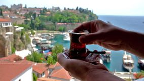 Glass of turkish tea stock footage