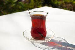 Glass of Turkish Tea. On Table Royalty Free Stock Image