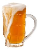 Glass of unfiltered beer isolated on a white Royalty Free Stock Photos