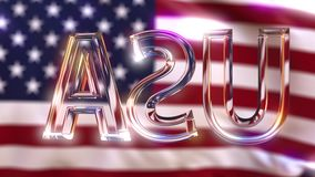 Rotating glass USA caption against waving American flag stock video footage