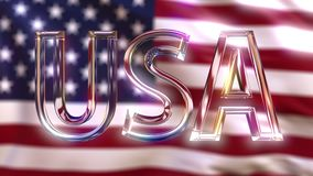 Rotating glass USA caption against waving American flag. 3D rendering Royalty Free Stock Photo