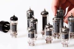Glass vacuum radio tubes Stock Photo
