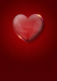 Glass valentine heart over dark red background Royalty Free Stock Photo