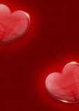 Glass valentine heart over dark red background Stock Image