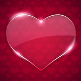 Glass Valentine Heart on Red Background Royalty Free Stock Photo