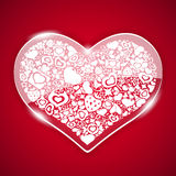 Glass Valentine Heart on Red Background Royalty Free Stock Photos