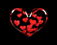 Glass Valentine love heart. Glass heart containing 14 red hearts, Valentine concept on black background Stock Image