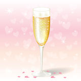 Glass of valentine's day champagne Royalty Free Stock Photos