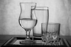 Glass. Varieties of glasses with shining Royalty Free Stock Photography