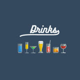 Glass of various drinks and cocktails. Royalty Free Stock Photos