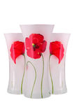 Glass vas med en blomma isolerat Arkivfoton