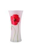 Glass vas med en blomma isolerat Royaltyfri Bild