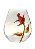 Glass vase. With a red flower on it Stock Photos
