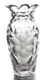 Glass vase. Flower pattern engraved Stock Photo