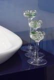 Glass vase. In the bathroom stock photo
