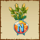 Glass vase with bouquet of corn and letter N Royalty Free Stock Photos