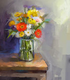 Glass vase with bouquet gerbera flowersl painting. Oil painting still life of white, red and yellow gerbera flowers in Glass vase. Bouquet gerbera flowers on the Stock Image