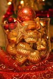 Glass vase with Christmas balls Stock Image