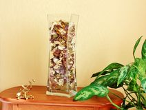 Glass vase filled with flower petals Stock Image