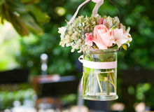 Glass vase with flowers Royalty Free Stock Photos