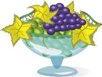 Glass vase with grapes. Stock Photography