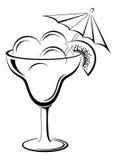 Glass vase with ice cream, black contour Stock Images