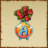 Glass vase with mountain ash and letter A Royalty Free Stock Images
