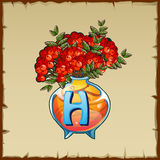 Glass vase with mountain ash and letter H Royalty Free Stock Photo