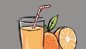 Natural orange juice illustration Stock Photography