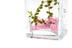 Glass vase, pink crystal inside Royalty Free Stock Images