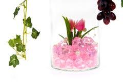 Glass vase, pink crystal inside Stock Image