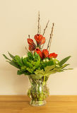 Glass vase with red Amaryllis and green leaves Stock Photography