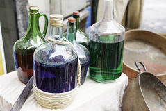 Glass vases with colored liquid Stock Photo